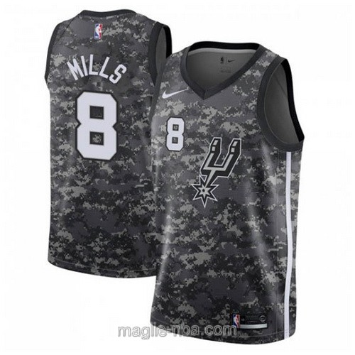 Maglia nba City Edition Nike San Antonio Spurs #8 Patty Mills 2019 grigio