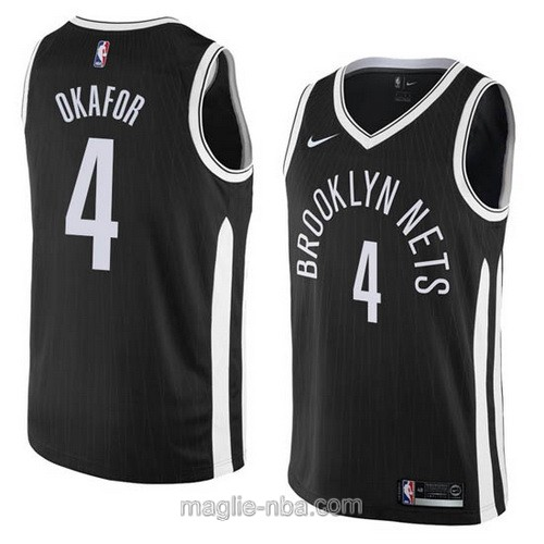 Maglia nba City Swingman Brooklyn Nets #4 Jahlil Okafor 2018 nero