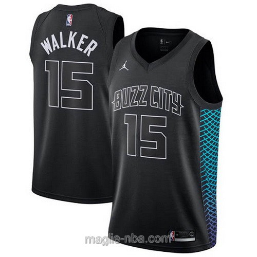 Maglia nba City Swingman Charlotte Hornets #15 Kemba Walker 2018 nero