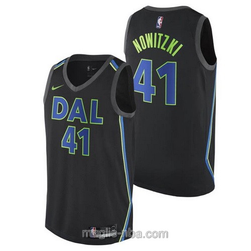 Maglia nba City Swingman Dallas Mavericks #41 Dirk Nowitzki 2018 nero