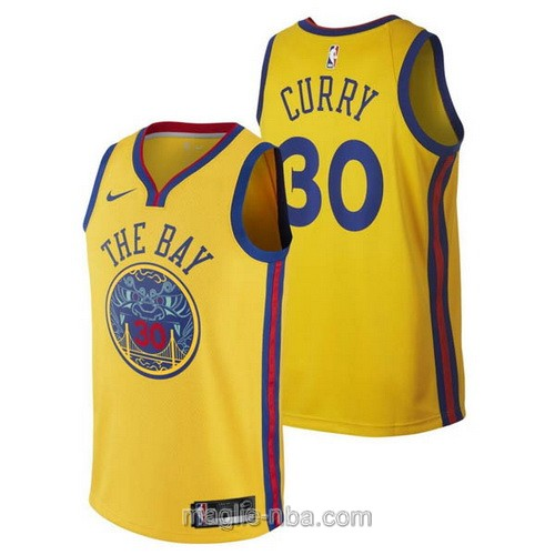 Maglia nba City Swingman Golden State Warriors #30 Stephen Curry 2018 giallo
