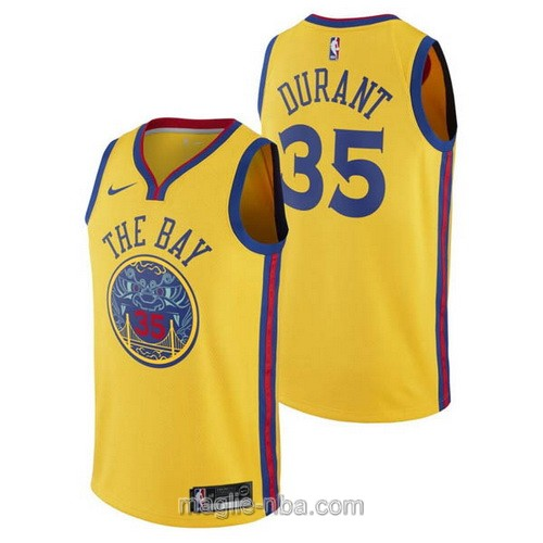 Maglia nba City Swingman Golden State Warriors #35 Kevin Durant 2018 giallo
