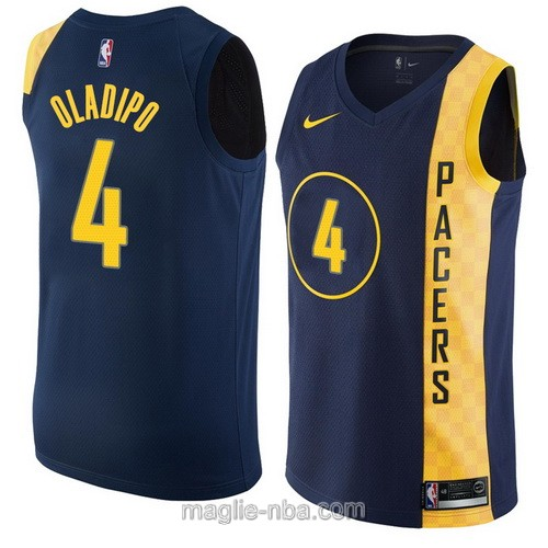 Maglia nba City Swingman Indiana Pacers #4 Victor Oladipo 2018 blu scuro