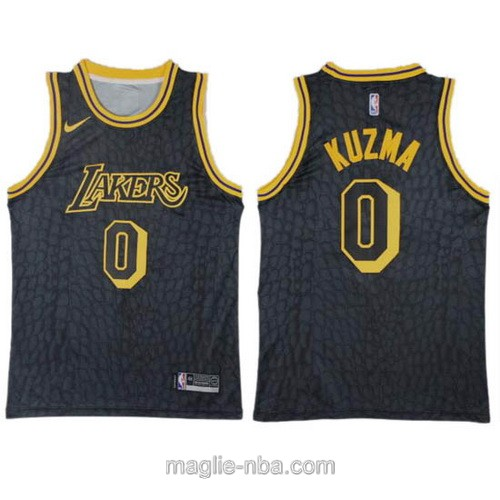 Maglia nba City Swingman Los Angeles Lakers #0 Kyle Kuzma nero