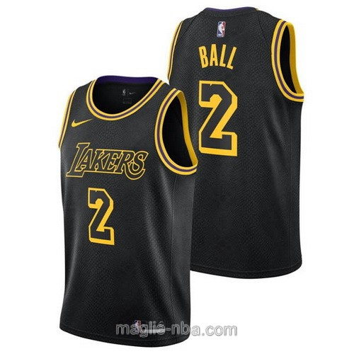 Maglia nba City Swingman Los Angeles Lakers #2 Lonzo Ball 2018 nero
