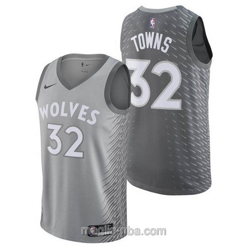 Maglia nba City Swingman Minnesota Timberwolves #32 Karl-Anthony Towns 2018 grigio