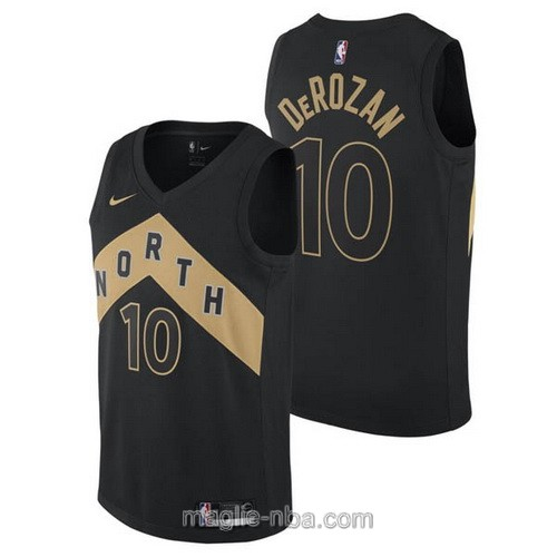 Maglia nba City Swingman Toronto Raptors #10 DeMar DeRozan 2018 nero