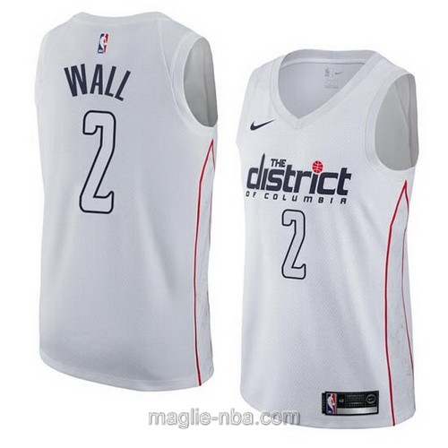 Maglia nba City Swingman Washington Wizards #2 John Wall 2018 bianco