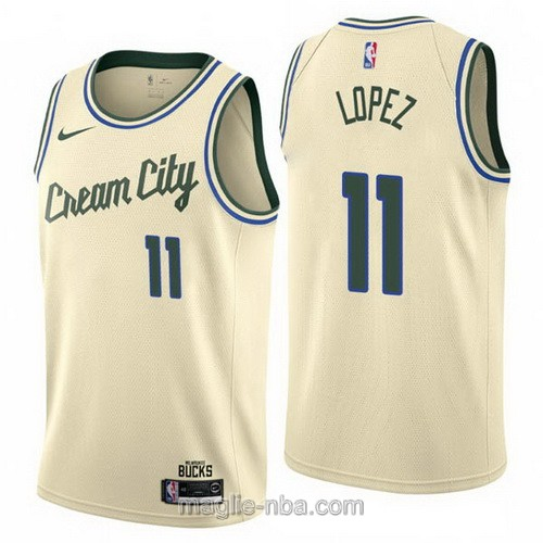 Maglia nba Cream City Nike Milwaukee Bucks #11 Brook Lopez 2019-20 giallo