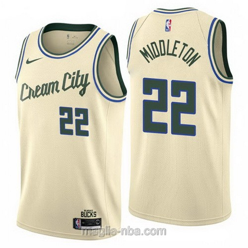 Maglia nba Cream City Nike Milwaukee Bucks #22 Khris Middleton 2019-20 giallo