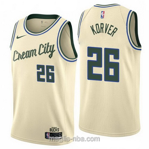 Maglia nba Cream City Nike Milwaukee Bucks #26 Kyle Korver 2019-20 giallo