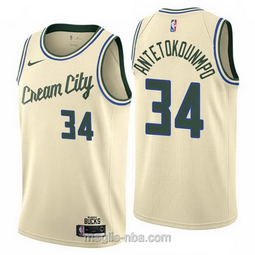 Maglia nba Cream City Nike Milwaukee Bucks #34 Giannis Antetokounmpo 2019-20 giallo