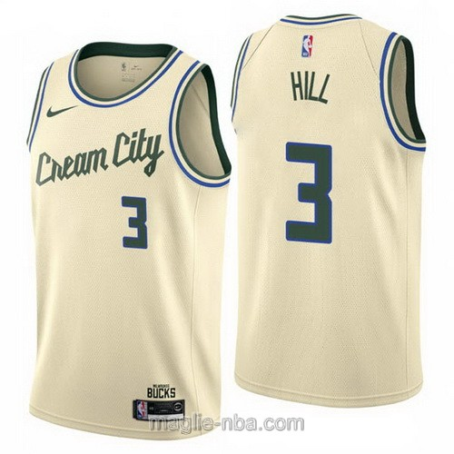 Maglia nba Cream City Nike Milwaukee Bucks #3 George Hill 2019-20 giallo