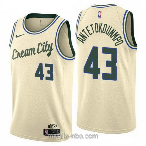 Maglia nba Cream City Nike Milwaukee Bucks #43 Thanasis Antetokounmpo 2019-20 giallo