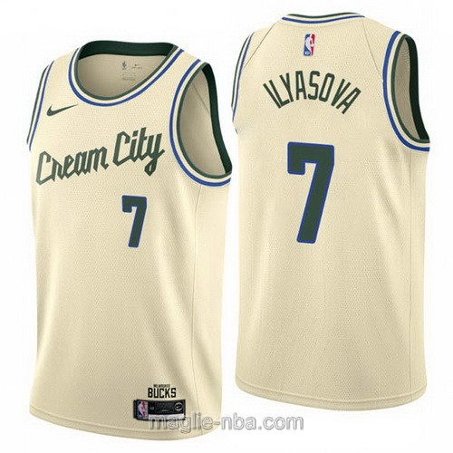 Maglia nba Cream City Nike Milwaukee Bucks #7 Ersan Ilyasova 2019-20 giallo