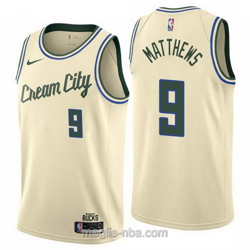 Maglia nba Cream City Nike Milwaukee Bucks #9 Wesley Matthews 2019-20 giallo