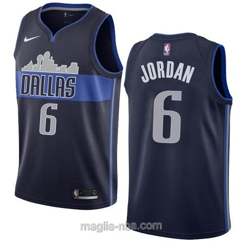 Maglia nba Dallas Mavericks #6 DeAndre Jordan blu scuro