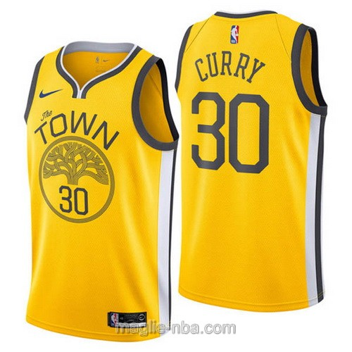 Maglia nba Earned Edition Nike Golden State Warriors #30 Stephen Curry 2019