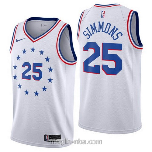 Maglia nba Earned Edition Nike Philadelphia 76ers #25 Ben Simmons 2019