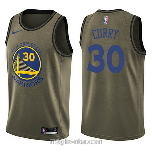 Maglia nba Edizione limitata Golden State Warriors #30 Stephen Curry verde militare