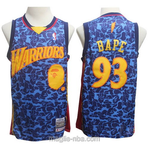 Maglia nba Golden State Warriors #93 BAPE blu