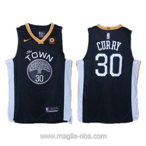 Maglia nba Golden State Warriors Stephen Curry #30 2017 2018 nero