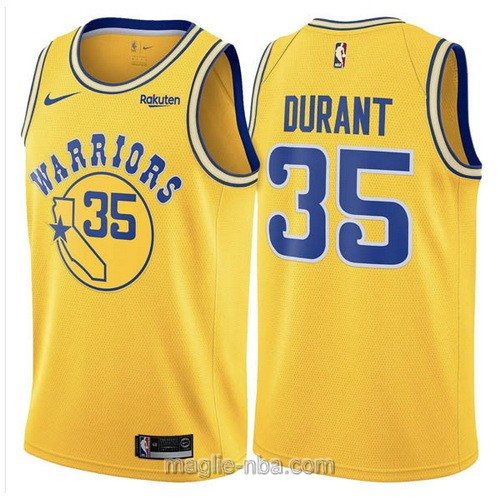 Maglia nba Hardwood Classics Nike Golden State Warriors #35 Kevin Durant 2019 giallo