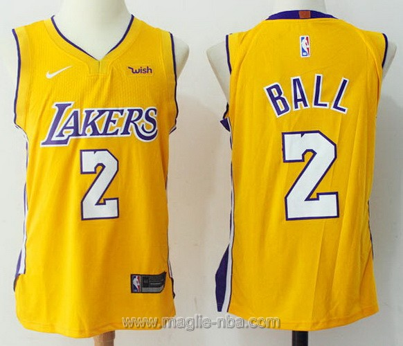 Maglia nba #2 Lonzo Ball Los Angeles Lakers giallo