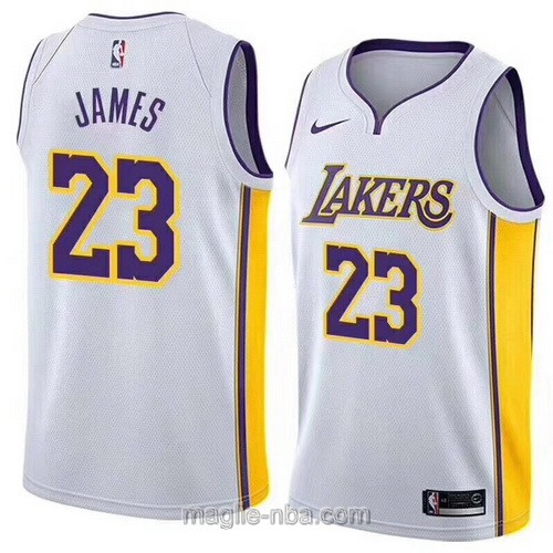 Maglia nba Los Angeles Lakers #23 LeBron James bianco