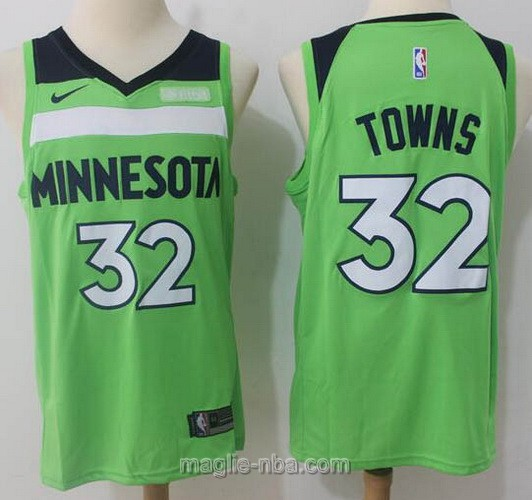 Maglia nba Minnesota Timberwolves #32 Karl Anthony Towns 2017 2018 verde