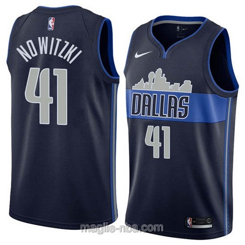 Maglia nba Nike Dallas Mavericks #41 Dirk Nowitzki 2018 blu scuro