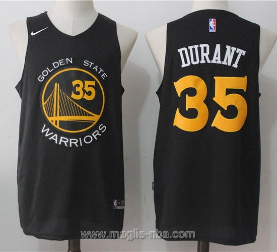 Maglia nba Nike Kevin Durant #35 nero Golden State Warriors