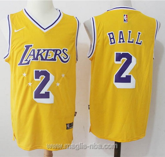 Maglia nba Nike Lonzo Ball #2 giallo Los Angeles Lakers