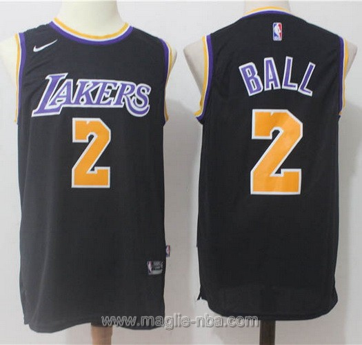 Maglia nba Nike Lonzo Ball #2 nero Los Angeles Lakers