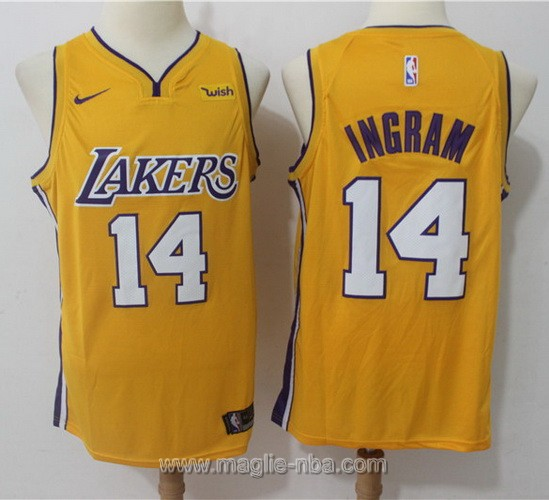 Maglia nba Nike Los Angeles Lakers #14 Brandon Ingram 2017 2018 giallo