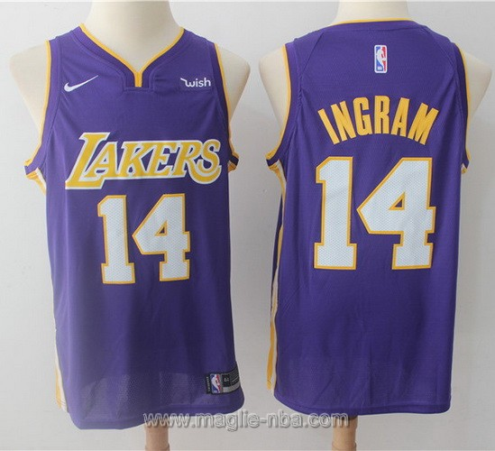 Maglia nba Nike Los Angeles Lakers #14 Brandon Ingram 2017 2018 porpora