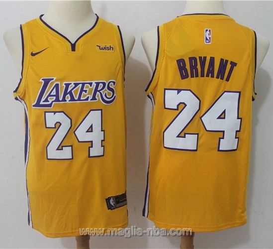 Maglia nba Nike Los Angeles Lakers #24 Kobe Bryant 2017 2018 giallo