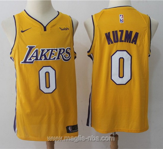 Maglia nba Nike Los Angeles Lakers #0 Kyle Kuzma 2017 2018 giallo