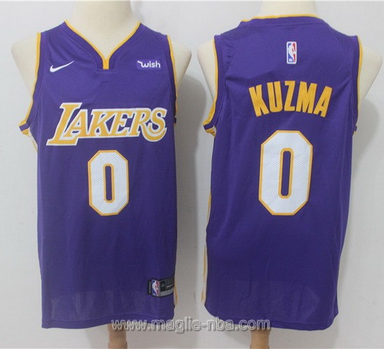 Maglia nba Nike Los Angeles Lakers #0 Kyle Kuzma 2017 2018 porpora