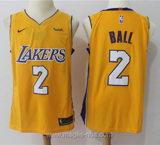 Maglia nba Nike Los Angeles Lakers #2 Lonzo Ball giallo