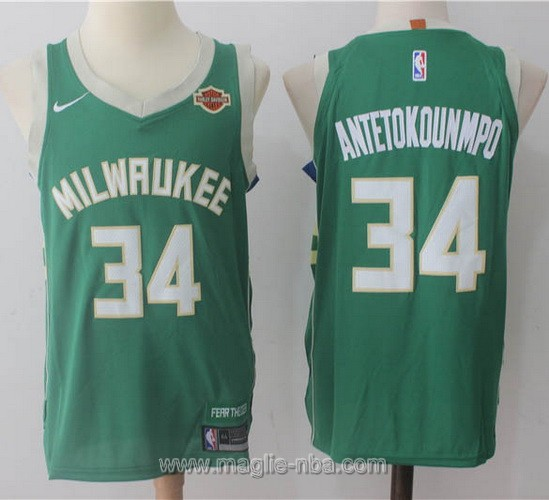 Maglia nba Nike Milwaukee Bucks #34 Giannis Antetokounmpo verde