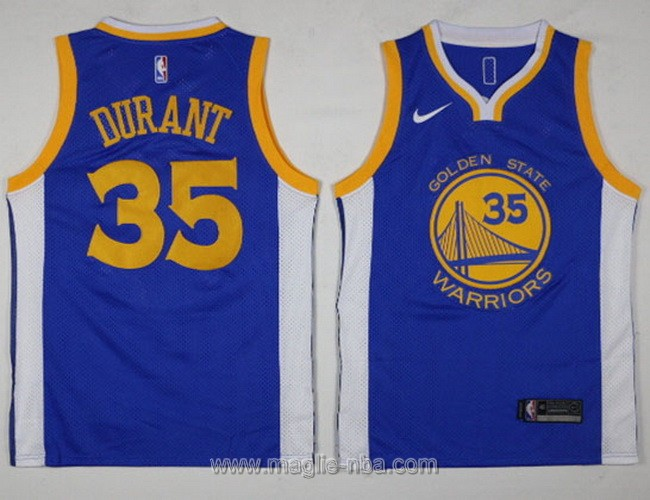 Maglia nba Swingman Golden State Warriors Kevin Durant #35 2017 2018 blu