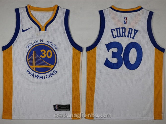 Maglia nba Swingman Golden State Warriors Stephen Curry #30 2017 2018 bianco