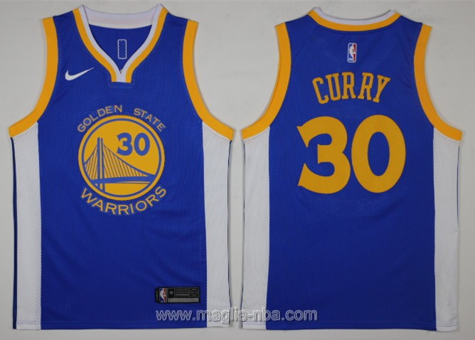 Maglia nba Swingman Golden State Warriors Stephen Curry #30 2017 2018 blu