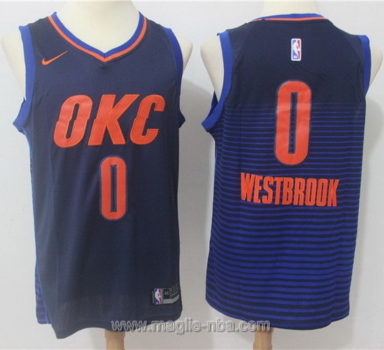Maglia nba Swingman Oklahoma City Thunder #0 Russell Westbrook 2017 2018 blu scuro