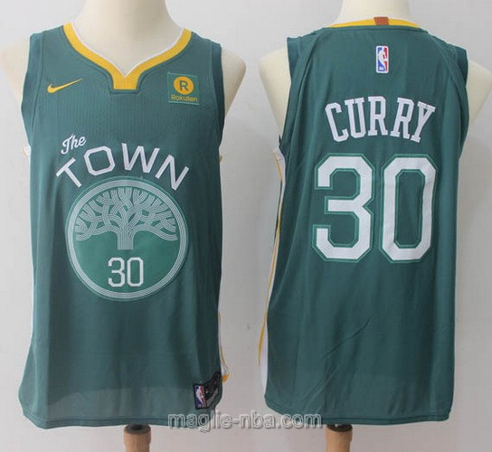 Maglia nba Throwback Swingman Golden State Warriors #30 Stephen Curry 2018 verde