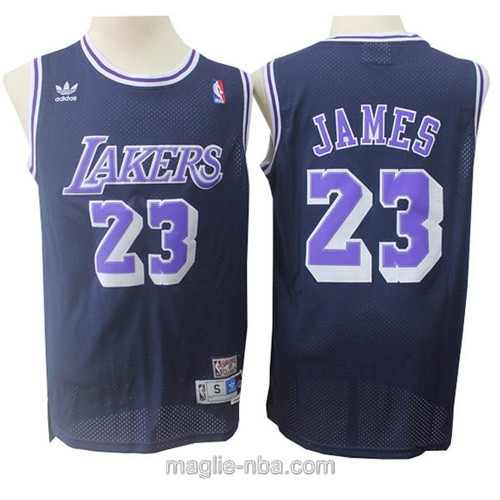 Maglia nba throwback Adidas Los Angeles Lakers #23 LeBron James blu scuro