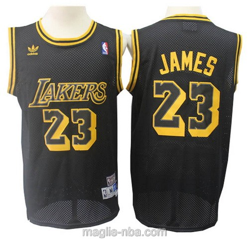 Maglia nba throwback Adidas Los Angeles Lakers #23 LeBron James nero