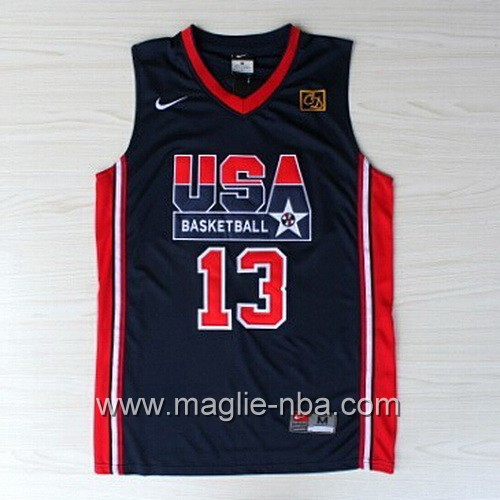 Maglie Basket USA 1992 Chris Mullin #13 blu marino