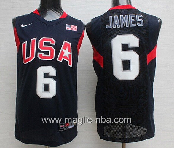 Maglie Basket USA 2008 LeBron James #6 nera